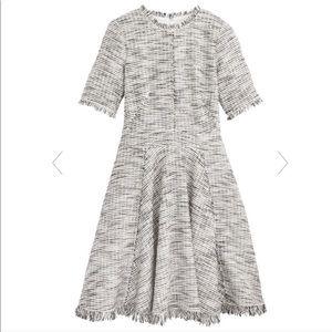 REBECCA TAYLOR Tweed Boucle Fringe Feminine Dress